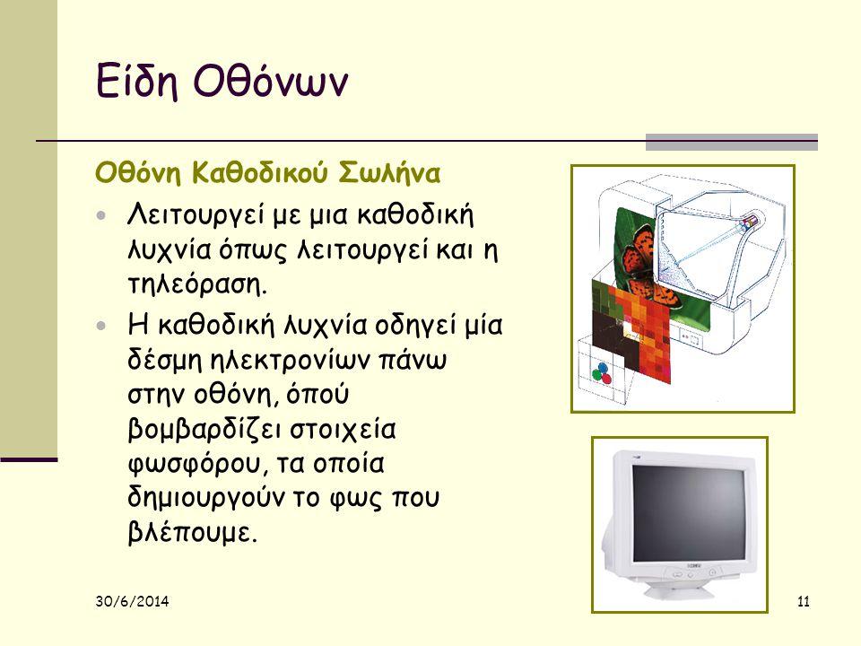 30/6/2014 11 Είδη Οθόνων Οθόνη Καθοδικού Σωλήνα  Λειτουργεί με μια καθοδική λυχνία όπως λειτουργεί και η τηλεόραση.  Η καθοδική λυχνία οδηγεί μία δέ