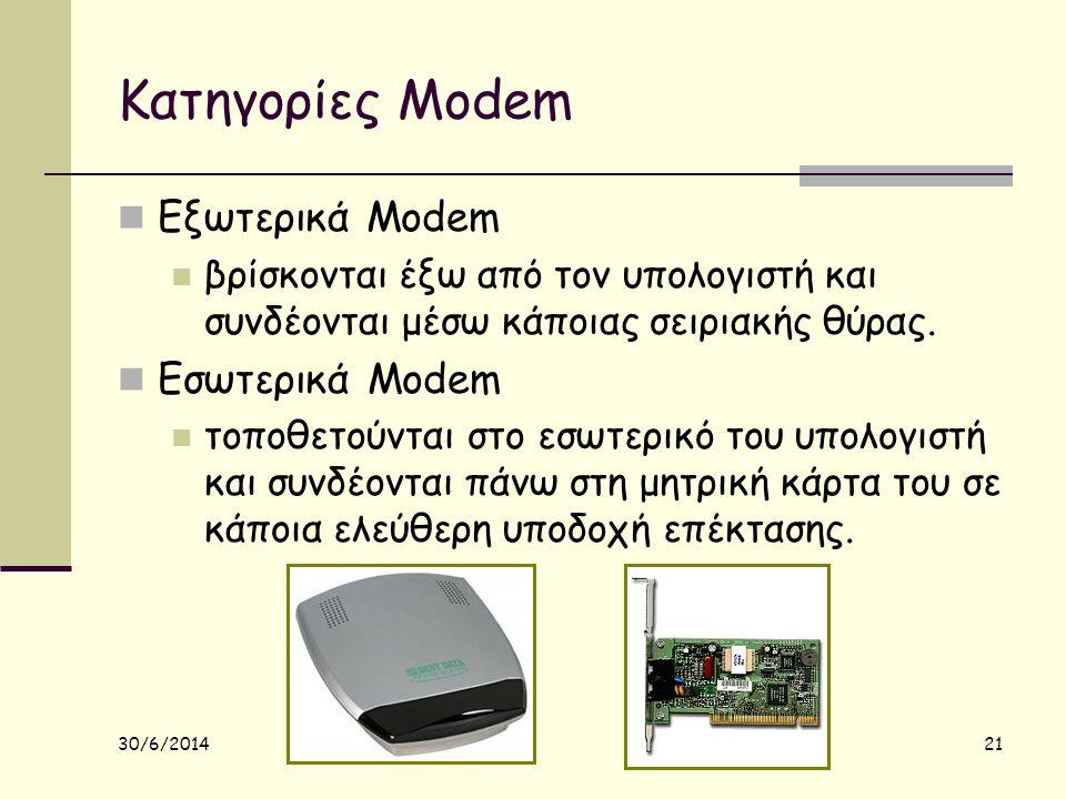 30/6/2014 21 Κατηγορίες Modem  Εξωτερικά Modem  βρίσκονται έξω από τον υπολογιστή και συνδέονται μέσω κάποιας σειριακής θύρας.  Εσωτερικά Modem  τ