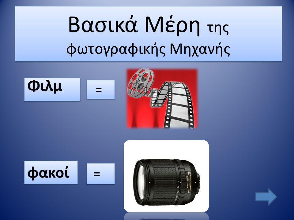 Βασικά Μέρη της φωτογραφικής Μηχανής Φιλμ Φιλμ φακοί = = = =