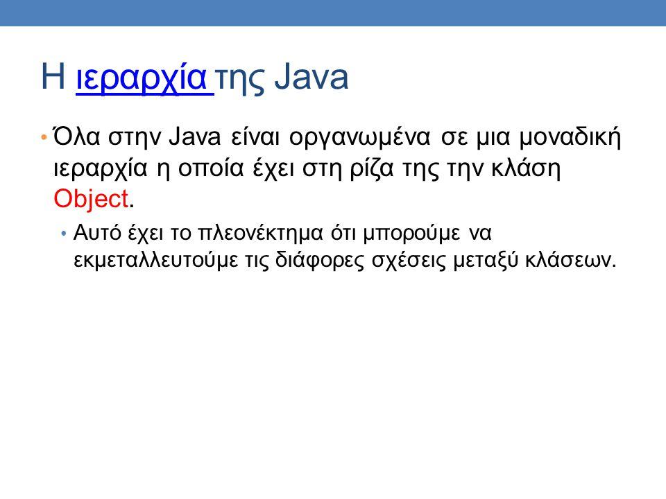 Η ιεραρχία της Javaιεραρχία • Όλα στην Java είναι οργανωμένα σε μια μοναδική ιεραρχία η οποία έχει στη ρίζα της την κλάση Object.