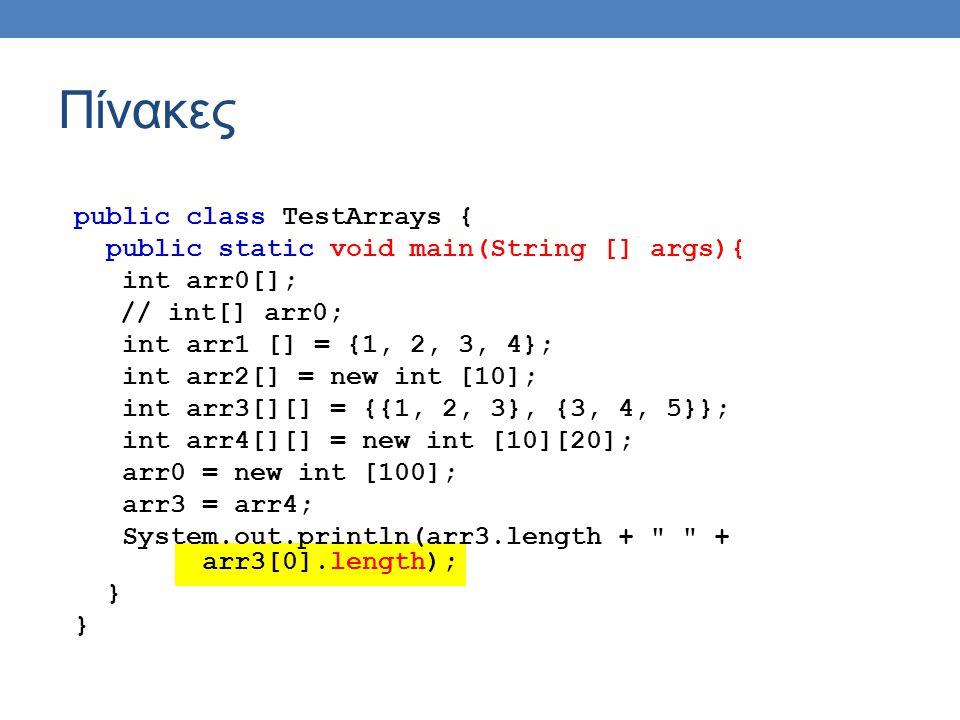 Πίνακες public class TestArrays { public static void main(String [] args){ int arr0[]; // int[] arr0; int arr1 [] = {1, 2, 3, 4}; int arr2[] = new int [10]; int arr3[][] = {{1, 2, 3}, {3, 4, 5}}; int arr4[][] = new int [10][20]; arr0 = new int [100]; arr3 = arr4; System.out.println(arr3.length + + arr3[0].length); }