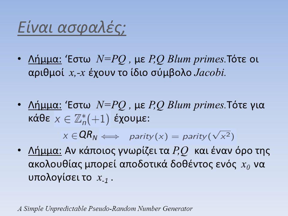 Είναι ασφαλές; • Λήμμα: 'Εστω N=PQ, με P,Q Blum primes. Τότε οι αριθμοί x,-x έχουν το ίδιο σύμβολο Jacobi. • Λήμμα: 'Εστω N=PQ, με P,Q Blum primes. Tό