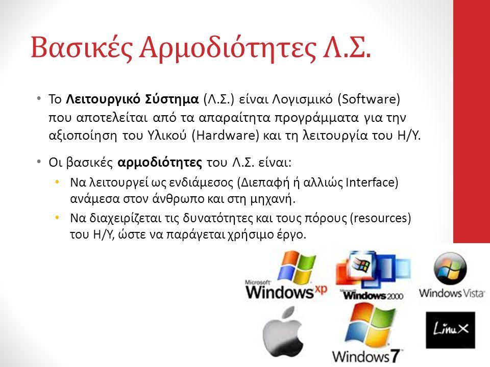 Βασικές Αρμοδιότητες Λ.Σ. • Το Λειτουργικό Σύστημα (Λ.Σ.) είναι Λογισμικό (Software) που αποτελείται από τα απαραίτητα προγράμματα για την αξιοποίηση
