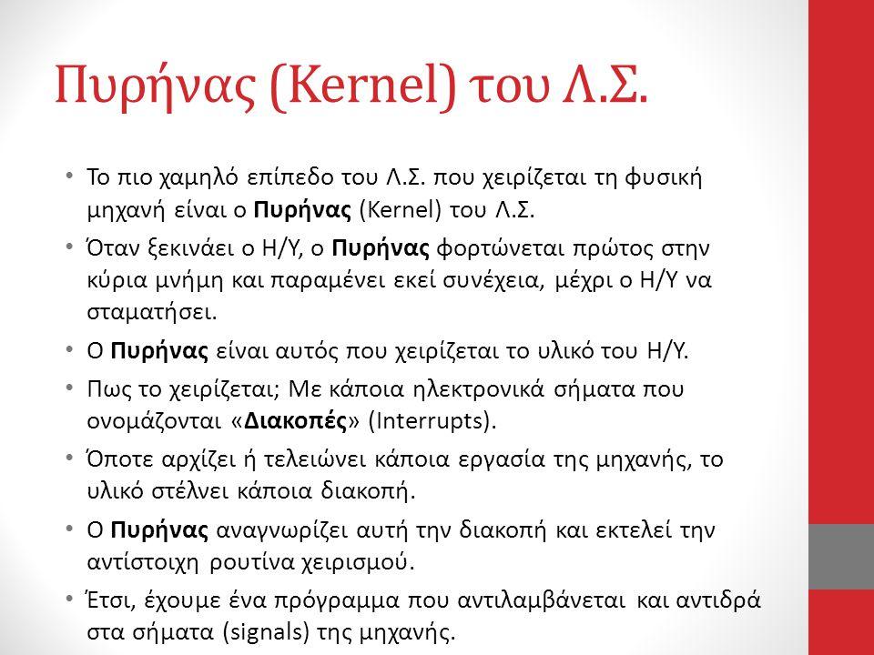 Πυρήνας (Kernel) του Λ.Σ. • Το πιο χαμηλό επίπεδο του Λ.Σ. που χειρίζεται τη φυσική μηχανή είναι ο Πυρήνας (Kernel) του Λ.Σ. • Όταν ξεκινάει ο Η/Υ, ο