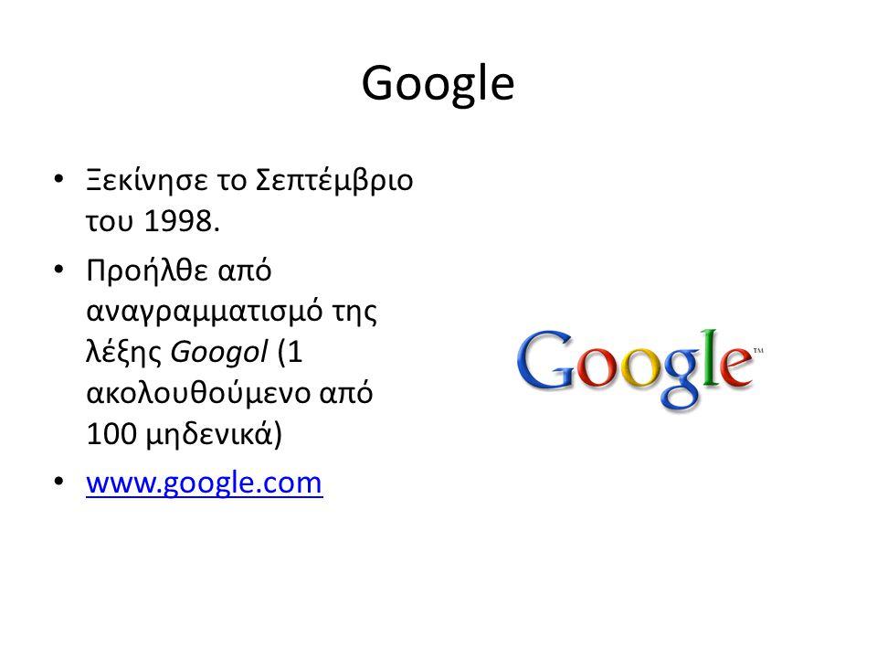 Google • Ξεκίνησε το Σεπτέμβριο του 1998.