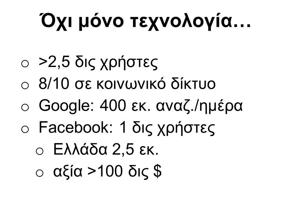 Όχι μόνο τεχνολογία… o >2,5 δις χρήστες o 8/10 σε κοινωνικό δίκτυο o Google: 400 εκ.