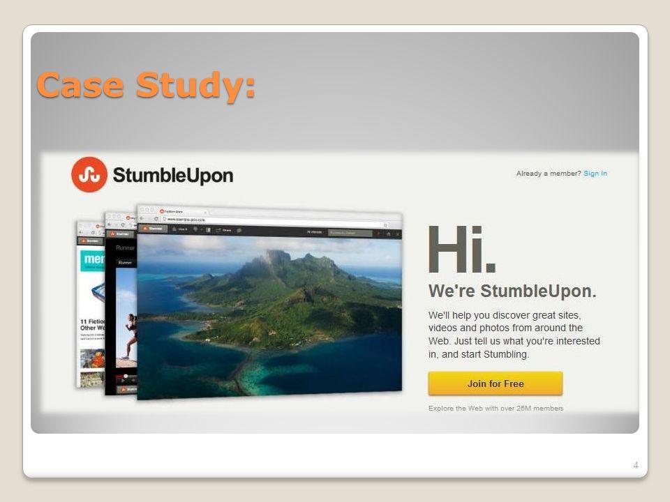 StumbleUpon  Το StumbleUpon, ανήκει στην κατηγορία των Social Media Website Aggregator και πρόκειται για μια μηχανή αναζήτησης (recommendation engine), η οποία βοηθάει τους χρήστες να βρουν την καλύτερη ιστοσελίδα (web page) σύμφωνα με τα δικά του ενδιαφέροντα και προτιμήσεις.