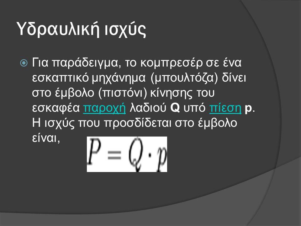 Υδραυλική ισχύς  Για παράδειγμα, το κομπρεσέρ σε ένα εσκαπτικό μηχάνημα (μπουλτόζα) δίνει στο έμβολο (πιστόνι) κίνησης του εσκαφέα παροχή λαδιού Q υπ