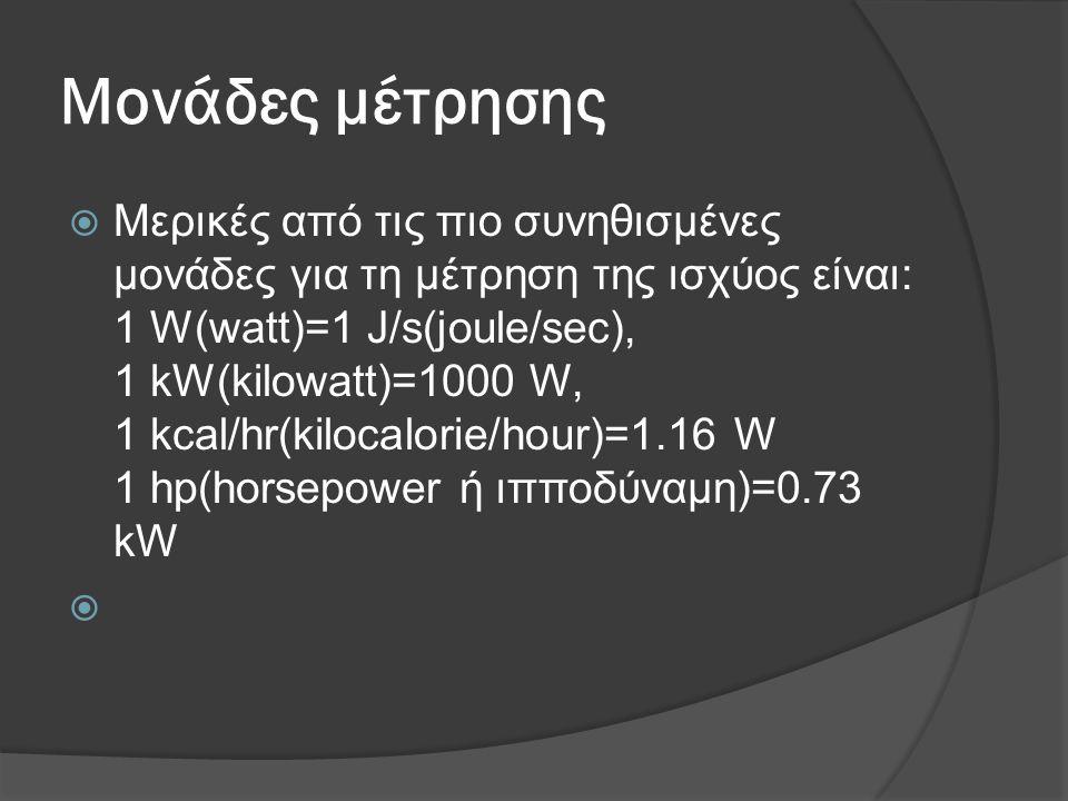 Μονάδες μέτρησης  Μερικές από τις πιο συνηθισμένες μονάδες για τη μέτρηση της ισχύος είναι: 1 W(watt)=1 J/s(joule/sec), 1 kW(kilowatt)=1000 W, 1 kcal