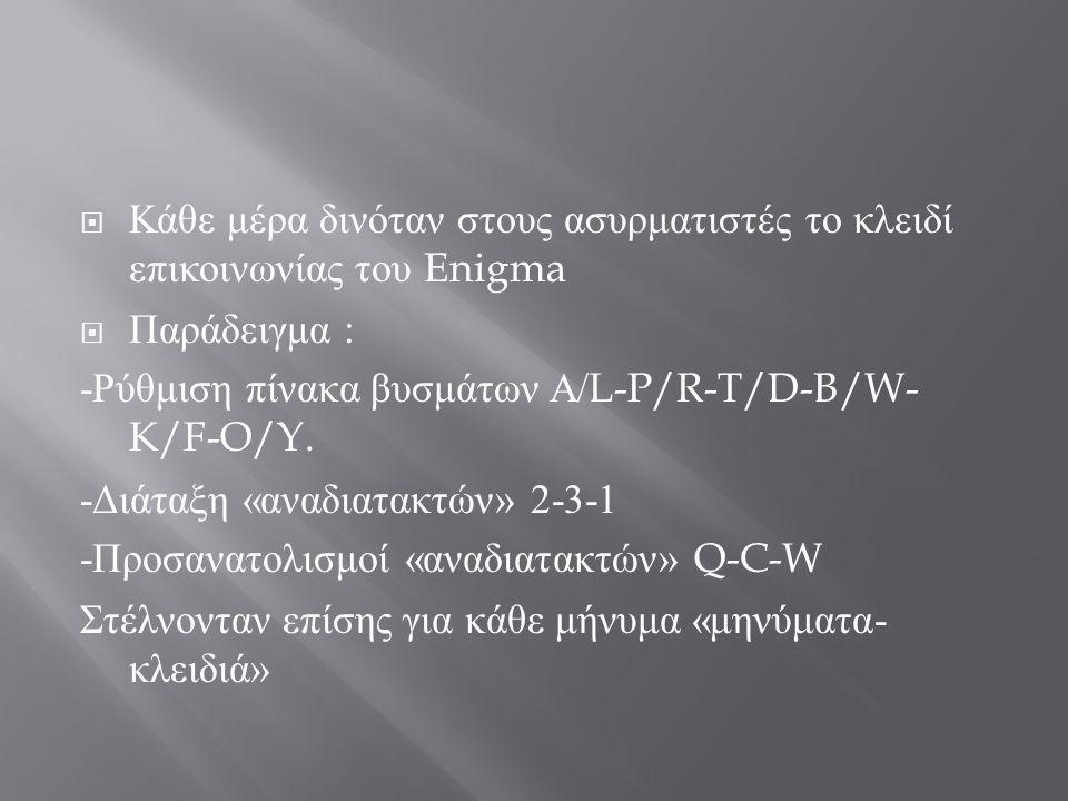  Κάθε μέρα δινόταν στους ασυρματιστές το κλειδί επικοινωνίας του Enigma  Παράδειγμα : -Ρύθμιση πίνακα βυσμάτων Α/ L-P/R-T/D-B/W- K/F-O/Y. -Διάταξη «