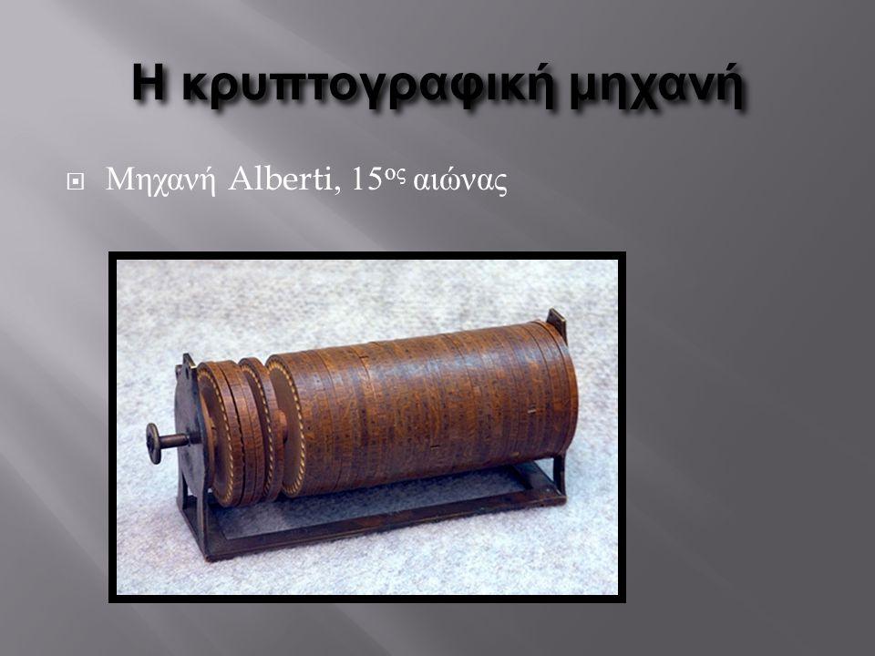 Η κρυπτογραφική μηχανή  Μηχανή Alberti, 15 ος αιώνας