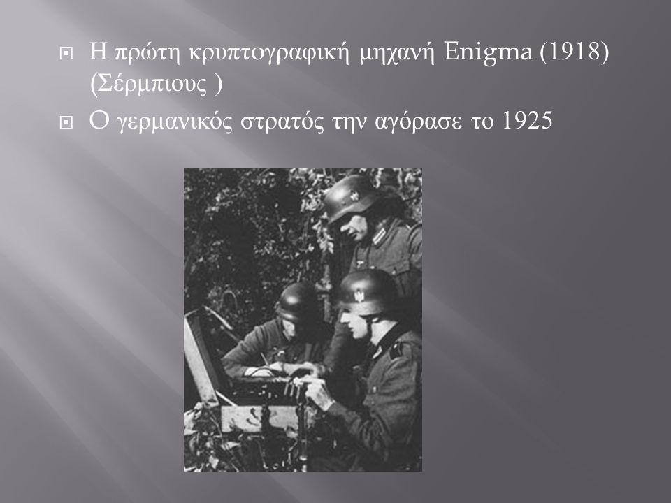  Η πρώτη κρυπτ o γραφική μηχανή Enigma (1918) ( Σέρμπιους )  O γερμανικός στρατός την αγόρασε το 1925