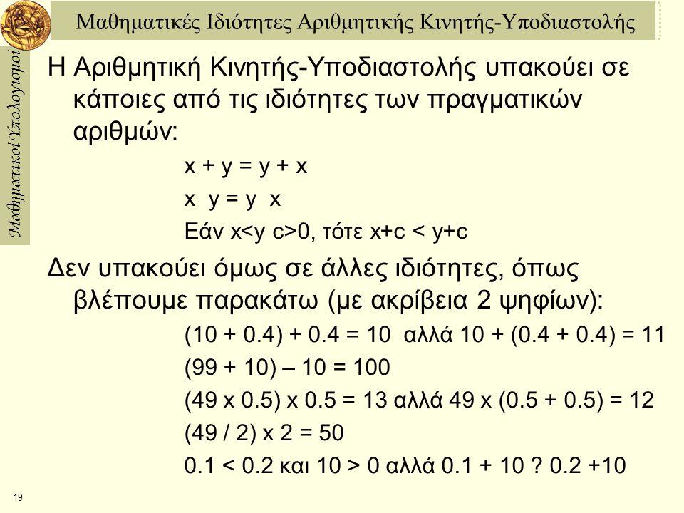 Μαθηματικοί Υπολογισμοί 19 Μαθηματικές Ιδιότητες Αριθμητικής Κινητής-Υποδιαστολής Η Αριθμητική Κινητής-Υποδιαστολής υπακούει σε κάποιες από τις ιδιότητες των πραγματικών αριθμών: x + y = y + x x y = y x Εάν x 0, τότε x+c < y+c Δεν υπακούει όμως σε άλλες ιδιότητες, όπως βλέπουμε παρακάτω (με ακρίβεια 2 ψηφίων): (10 + 0.4) + 0.4 = 10 αλλά 10 + (0.4 + 0.4) = 11 (99 + 10) – 10 = 100 (49 x 0.5) x 0.5 = 13 αλλά 49 x (0.5 + 0.5) = 12 (49 / 2) x 2 = 50 0.1 0 αλλά 0.1 + 10 .