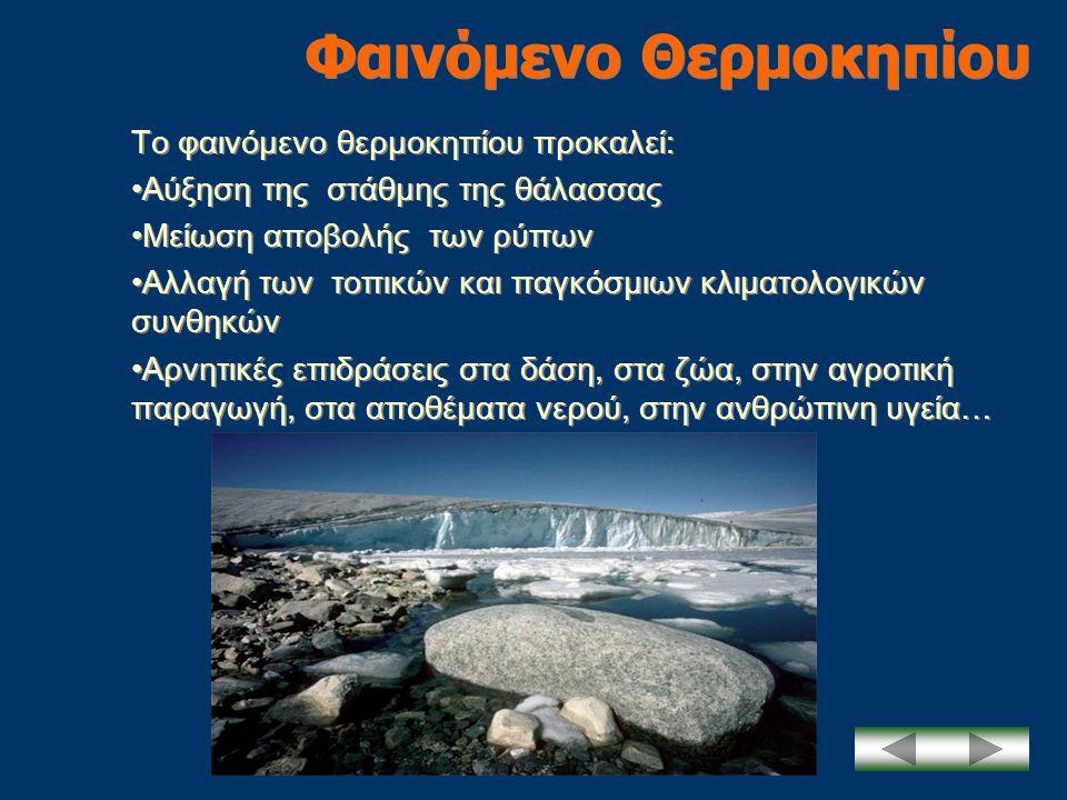 Φαινόμενο Θερμοκηπίου Το φαινόμενο θερμοκηπίου προκαλεί: •Αύξηση της στάθμης της θάλασσας •Μείωση αποβολής των ρύπων •Αλλαγή των τοπικών και παγκόσμιω