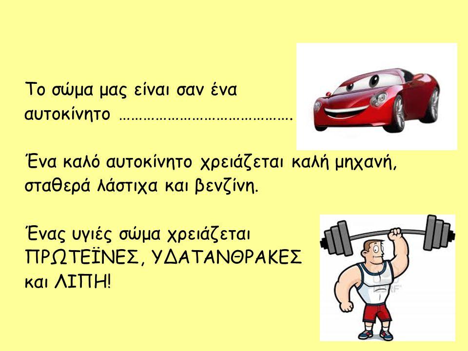 Το σώμα μας είναι σαν ένα αυτοκίνητο ……………………………………. Ένα καλό αυτοκίνητο χρειάζεται καλή μηχανή, σταθερά λάστιχα και βενζίνη. Ένας υγιές σώμα χρειάζετ