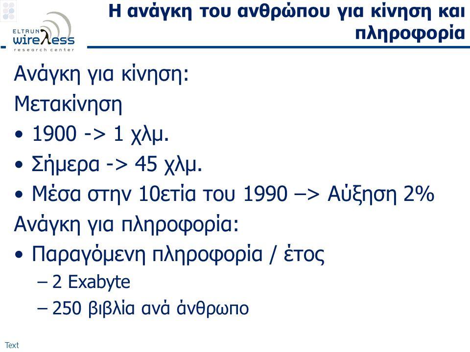 Text Η ανάγκη του ανθρώπου για κίνηση και πληροφορία Ανάγκη για κίνηση: Μετακίνηση •1900 -> 1 χλμ.