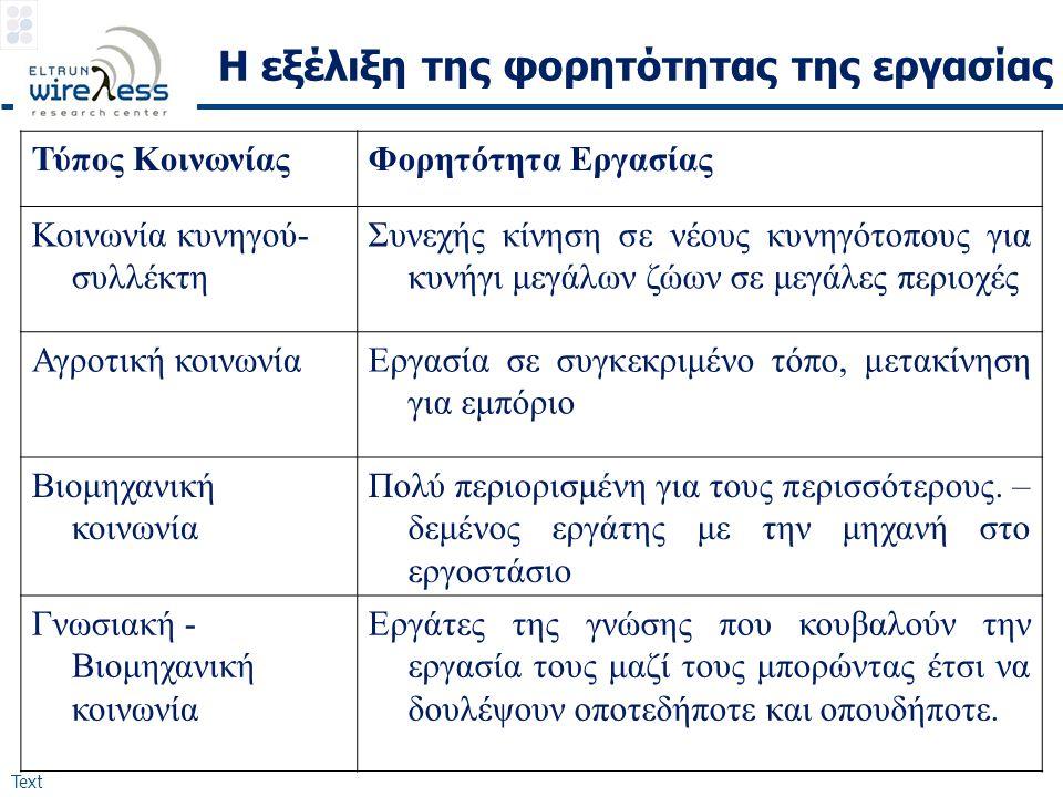 Text Η εξέλιξη της φορητότητας της εργασίας Τύπος ΚοινωνίαςΦορητότητα Εργασίας Κοινωνία κυνηγού- συλλέκτη Συνεχής κίνηση σε νέους κυνηγότοπους για κυν