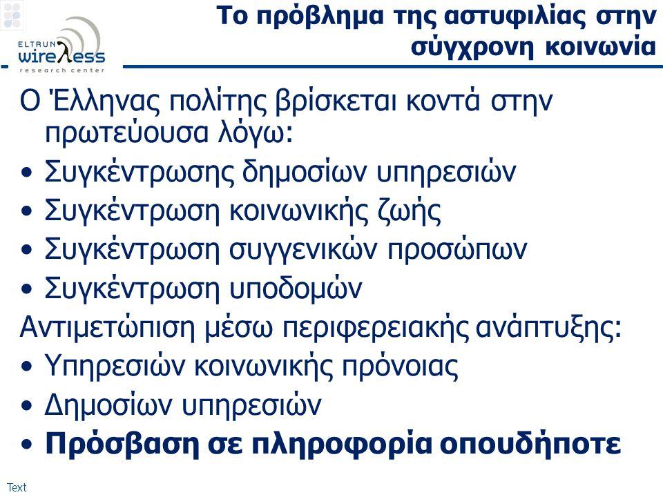 Text Το πρόβλημα της αστυφιλίας στην σύγχρονη κοινωνία Ο Έλληνας πολίτης βρίσκεται κοντά στην πρωτεύουσα λόγω: •Συγκέντρωσης δημοσίων υπηρεσιών •Συγκέ