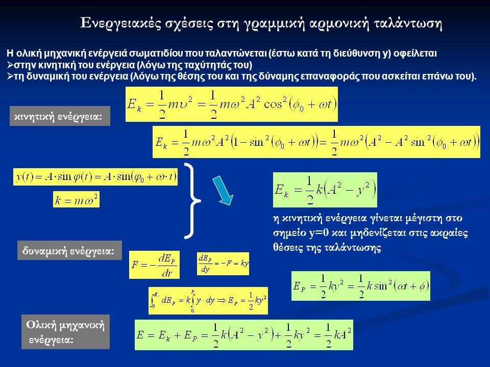Ενεργειακές σχέσεις στη γραμμική αρμονική ταλάντωση Η ολική μηχανική ενέργειά σωματιδίου που ταλαντώνεται (έστω κατά τη διεύθυνση y) οφείλεται  στην κινητική του ενέργεια (λόγω της ταχύτητάς του)  τη δυναμική του ενέργεια (λόγω της θέσης του και της δύναμης επαναφοράς που ασκείται επάνω του).