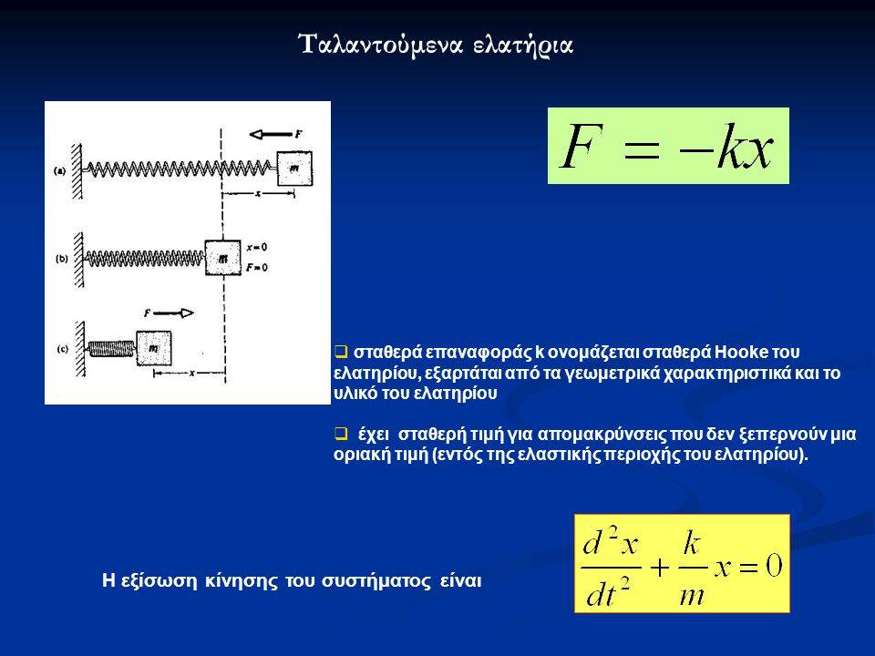 Ταλαντούμενα ελατήρια  σταθερά επαναφοράς k ονομάζεται σταθερά Hooke του ελατηρίου, εξαρτάται από τα γεωμετρικά χαρακτηριστικά και το υλικό του ελατηρίου  έχει σταθερή τιμή για απομακρύνσεις που δεν ξεπερνούν μια οριακή τιμή (εντός της ελαστικής περιοχής του ελατηρίου).