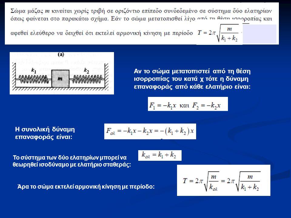 Η συνολική δύναμη επαναφοράς είναι: Αν το σώμα μετατοπιστεί από τη θέση ισορροπίας του κατά χ τότε η δύναμη επαναφοράς από κάθε ελατήριο είναι: Το σύστημα των δύο ελατηρίων μπορεί να θεωρηθεί ισοδύναμο με ελατήριο σταθεράς: Άρα το σώμα εκτελεί αρμονική κίνηση με περίοδο:
