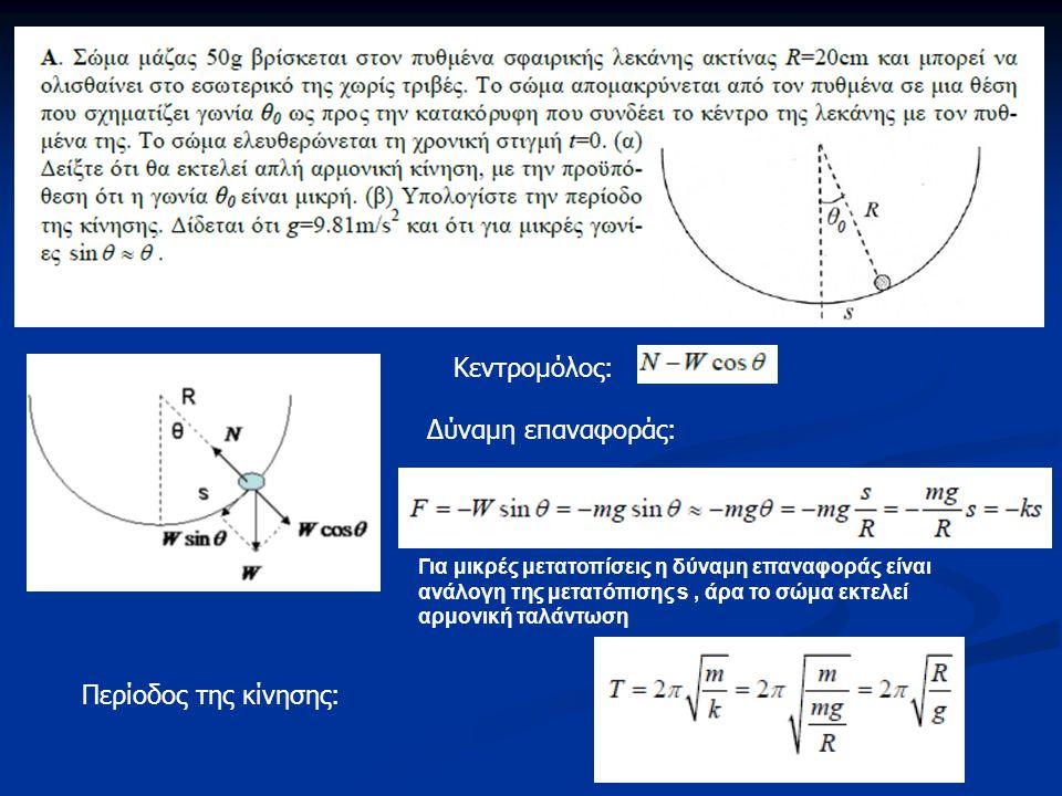 Κεντρομόλος: Δύναμη επαναφοράς: Για μικρές μετατοπίσεις η δύναμη επαναφοράς είναι ανάλογη της μετατόπισης s, άρα το σώμα εκτελεί αρμονική ταλάντωση Πε