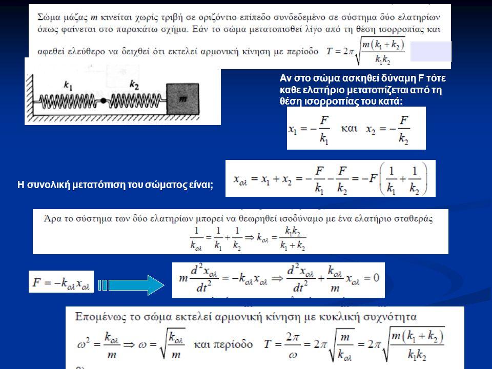Αν στο σώμα ασκηθεί δύναμη F τότε καθε ελατήριο μετατοπίζεται από τη θέση ισορροπίας του κατά: Η συνολική μετατόπιση του σώματος είναι;