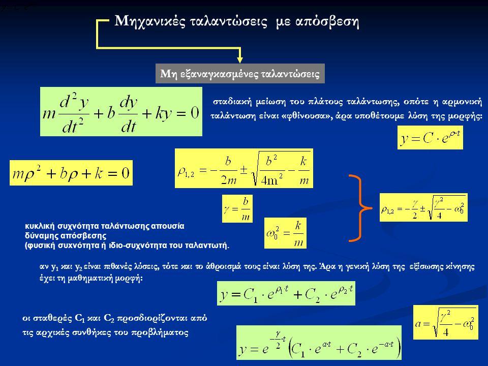 Μηχανικές ταλαντώσεις με απόσβεση Μη εξαναγκασμένες ταλαντώσεις σταδιακή μείωση του πλάτους ταλάντωσης, οπότε η αρμονική ταλάντωση είναι «φθίνουσα», άρα υποθέτουμε λύση της μορφής: αν y 1 και y 2 είναι πιθανές λύσεις, τότε και το άθροισμά τους είναι λύση της.