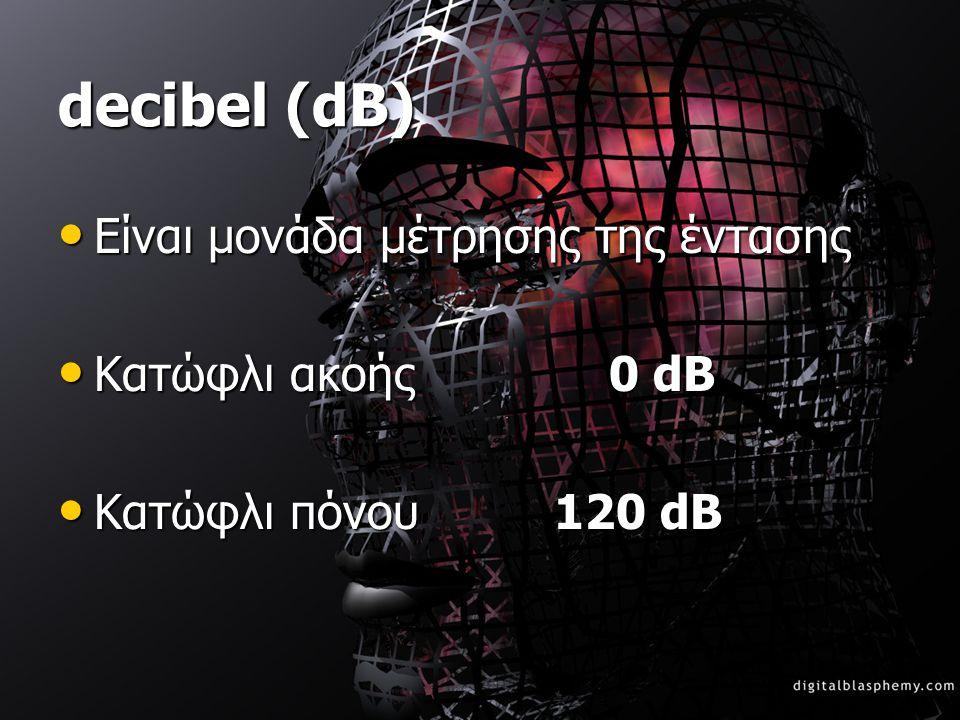 decibel (dB) •Ε•Ε•Ε•Είναι μονάδα μέτρησης της έντασης •Κ•Κ•Κ•Κατώφλι ακοής 0 dB •Κ•Κ•Κ•Κατώφλι πόνου 120 dB