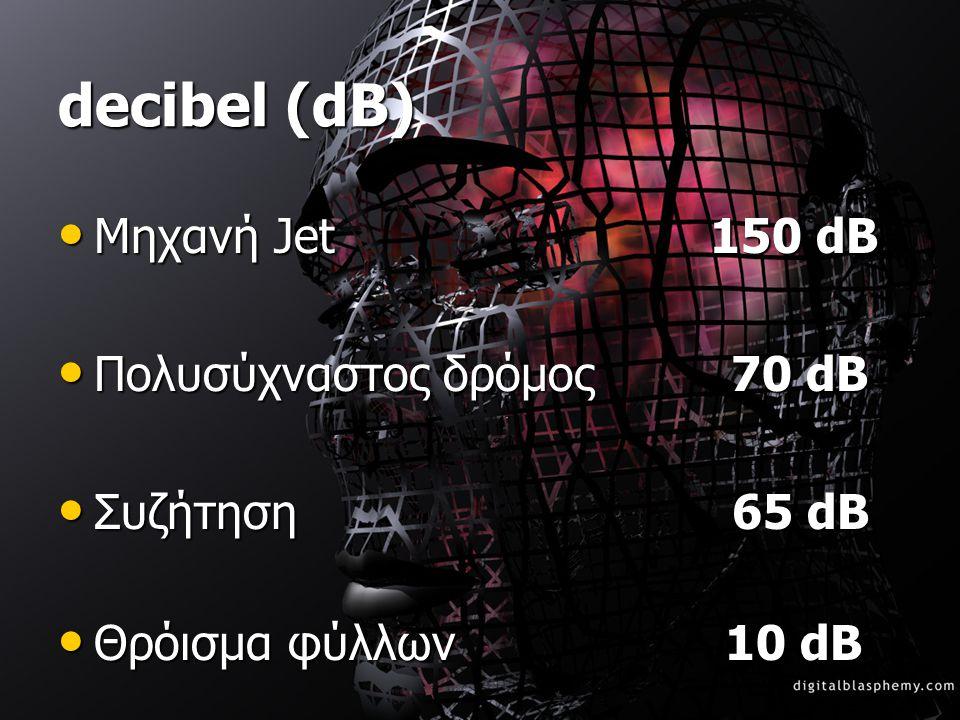 • Μηχανή Jet 150 dB • Πολυσύχναστος δρόμος 70 dB • Συζήτηση 65 dB • Θρόισμα φύλλων 10 dB