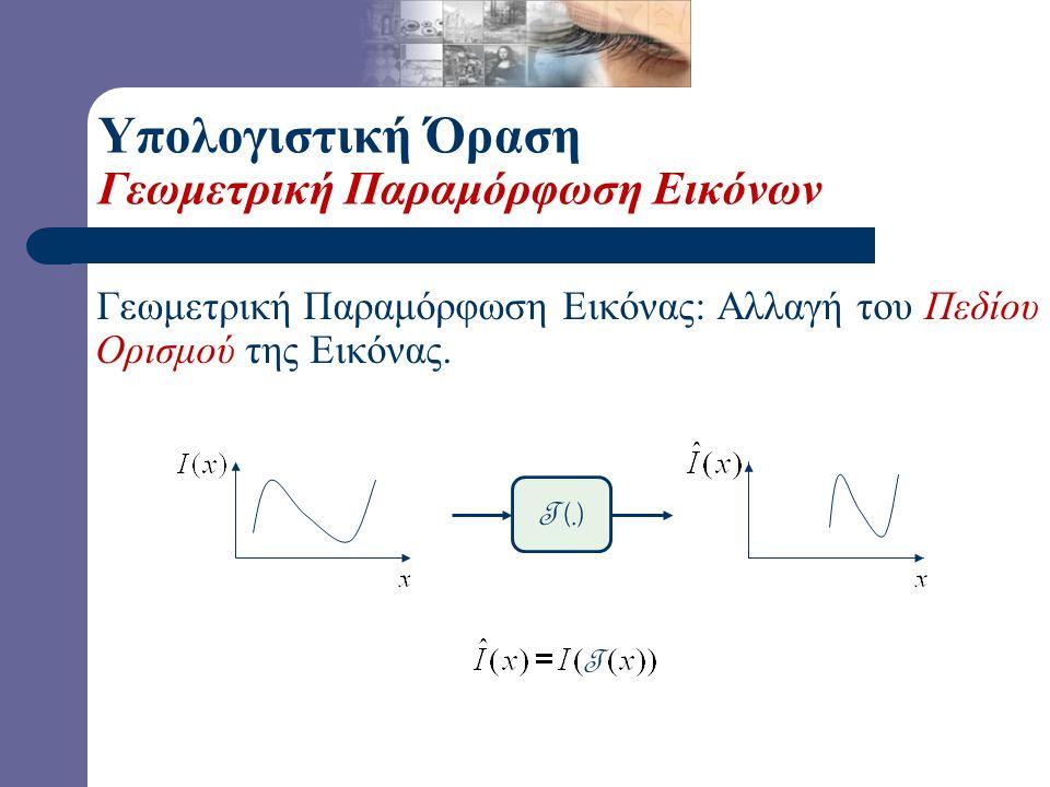 Υπολογιστική Όραση Παραμόρφωση Εικόνων-Φιλτράρισμα Φιλτράρισμα Εικόνας: Αλλαγή του Πεδίου Τιμών της εικόνας. T (.) T
