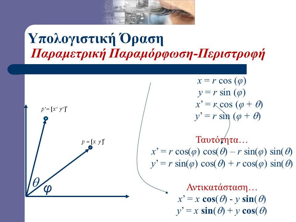 Υπολογιστική Όραση Παραμετρική Παραμόρφωση-Περιστροφή 