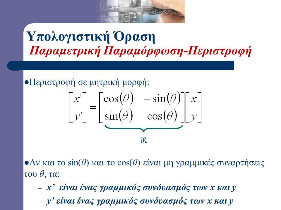 x = r cos (φ) y = r sin (φ) x' = r cos (φ +  ) y' = r sin (φ +  ) Ταυτότητα… x' = r cos(φ) cos(  ) – r sin(φ) sin(  ) y' = r sin(φ) cos(  ) + r cos(φ) sin(  ) Αντικατάσταση… x' = x cos(  ) - y sin(  ) y' = x sin(  ) + y cos(  )  φ Υπολογιστική Όραση Παραμετρική Παραμόρφωση-Περιστροφή