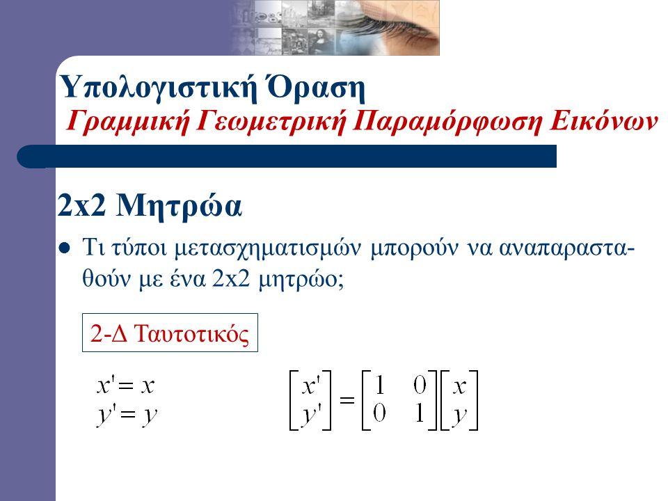  Ποιός είναι ο αντίστροφος μετασχηματισμός ; – Περιστροφή κατά –θ. – Από την Γραμμική Άλγεβρα γνωρίζουμε ότι: Υπολογιστική Όραση Παραμετρική Παραμόρφ