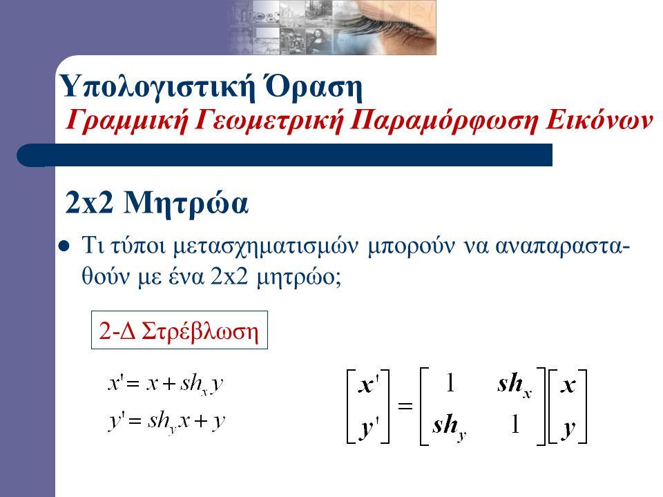 2-Δ Περιστροφή  Τι τύποι μετασχηματισμών μπορούν να αναπαραστα- θούν με ένα 2x2 μητρώο; 2x2 Μητρώα Υπολογιστική Όραση Γραμμική Γεωμετρική Παραμόρφωση Εικόνων