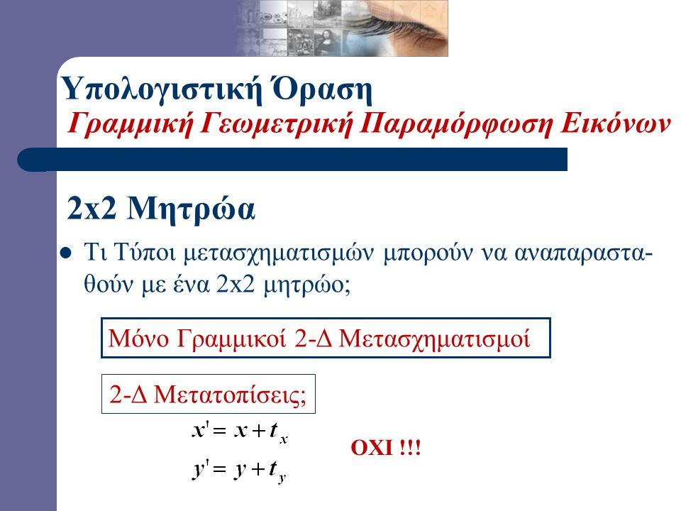  Ιδιότητες των Γραμμικών Μετασχηματισμών: – Η αρχή «απεικονίζεται» στην αρχή – Γραμμές «απεικονίζονται» σε γραμμές – Παράλληλες Γραμμές «παραμένουν» παράλληλες – Οι λόγοι «διατηρούνται» (επόμενος πίνακας) – Κλειστότητα στη Σύνθεση (επόμενος πίνακας) Υπολογιστική Όραση Γραμμική Γεωμετρική Παραμόρφωση Εικόνων
