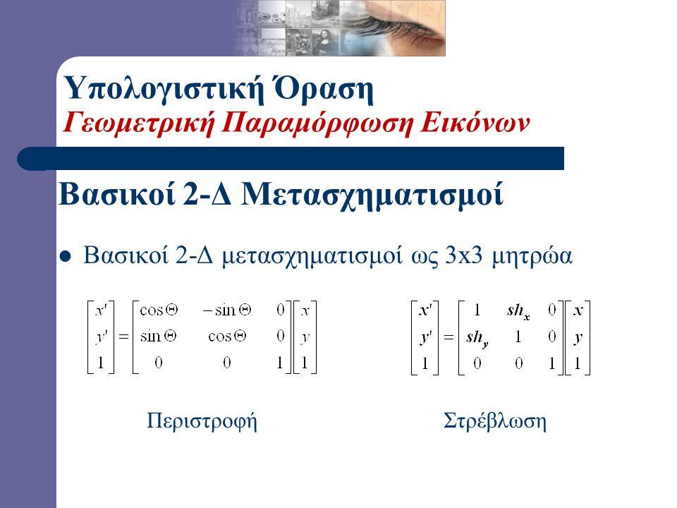 Βασικοί 2-Δ Μετασχηματισμοί  Βασικοί 2-Δ μετασχηματισμοί ως 3x3 μητρώα Μετατόπιση Κλιμάκωση Υπολογιστική Όραση Γεωμετρική Παραμόρφωση Εικόνων