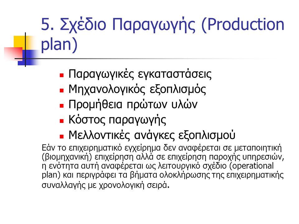 5. Σχέδιο Παραγωγής (Production plan)  Παραγωγικές εγκαταστάσεις  Μηχανολογικός εξοπλισμός  Προμήθεια πρώτων υλών  Κόστος παραγωγής  Μελλοντικές