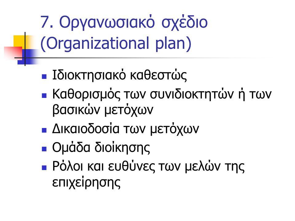 7. Οργανωσιακό σχέδιο (Organizational plan)  Ιδιοκτησιακό καθεστώς  Καθορισμός των συνιδιοκτητών ή των βασικών μετόχων  Δικαιοδοσία των μετόχων  Ο
