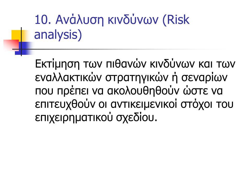 10. Ανάλυση κινδύνων (Risk analysis) Εκτίμηση των πιθανών κινδύνων και των εναλλακτικών στρατηγικών ή σεναρίων που πρέπει να ακολουθηθούν ώστε να επιτ