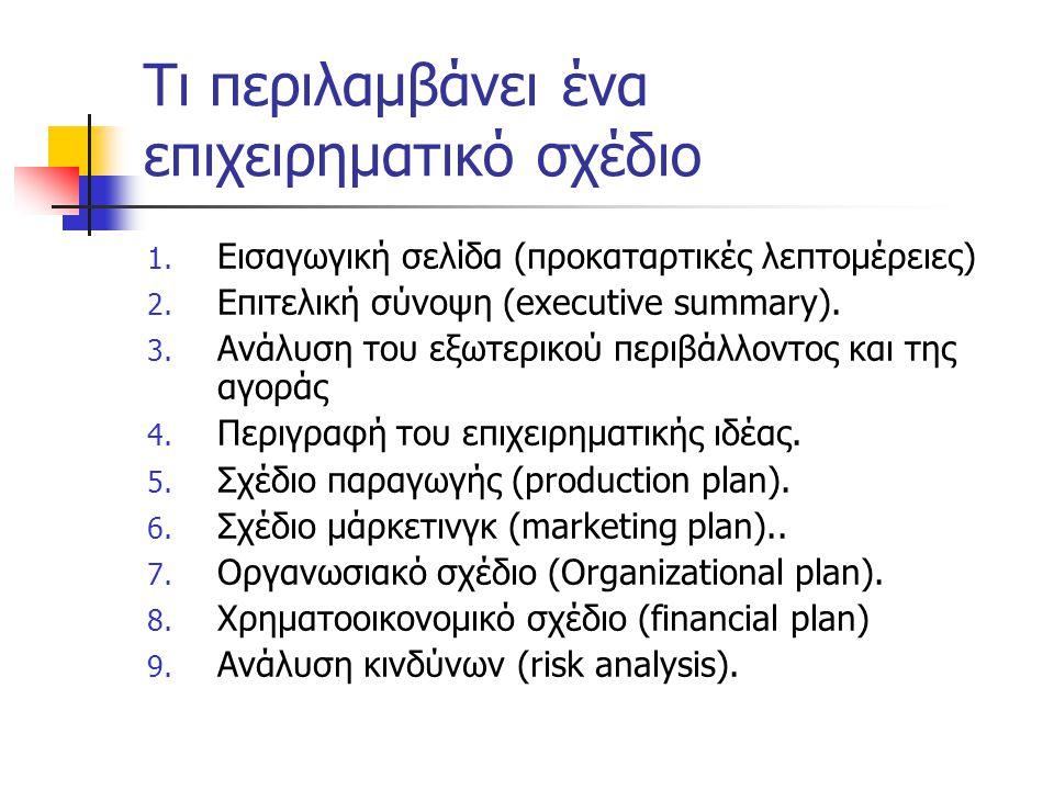 Τι περιλαμβάνει ένα επιχειρηματικό σχέδιο 1. Εισαγωγική σελίδα (προκαταρτικές λεπτομέρειες) 2. Επιτελική σύνοψη (executive summary). 3. Ανάλυση του εξ