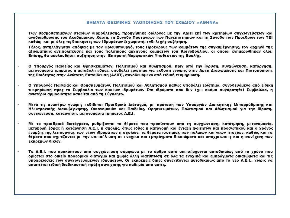 ΒΗΜΑΤΑ ΘΕΣΜΙΚΗΣ ΥΛΟΠΟΙΗΣΗΣ ΤΟΥ ΣΧΕΔΙΟΥ «ΑΘΗΝΑ» Των θεσμοθετημένων σταδίων διαβούλευσης, προηγήθηκε διάλογος με την ΑΔΙΠ επί των κριτηρίων συγχωνεύσεων και αναδιάρθρωσης του Ακαδημαϊκού Χάρτη, τη Σύνοδο Πρυτάνεων των Πανεπιστημίων και τη Σύνοδο των Προέδρων των ΤΕΙ καθώς και με όλες τις διοικήσεις των Ιδρυμάτων ξεχωριστή, ενδελεχής συζήτηση.