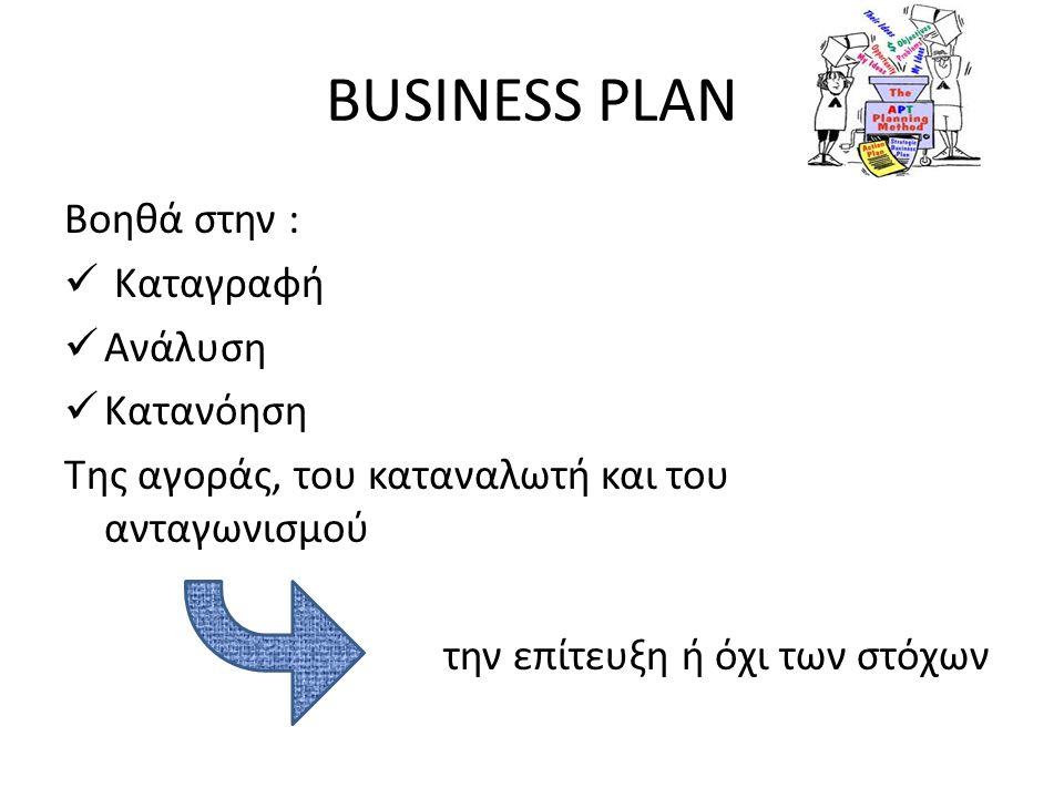 BUSINESS PLAN Βοηθά στην :  Καταγραφή  Ανάλυση  Κατανόηση Της αγοράς, του καταναλωτή και του ανταγωνισμού την επίτευξη ή όχι των στόχων