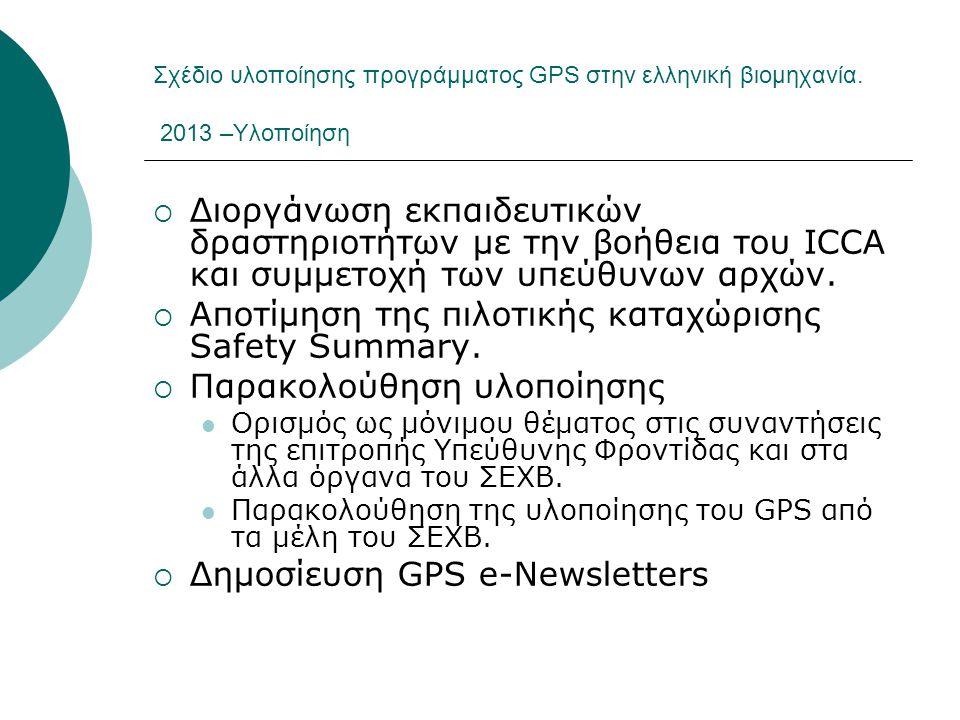 Σχέδιο υλοποίησης προγράμματος GPS στην ελληνική βιομηχανία. 2013 –Υλοποίηση  Διοργάνωση εκπαιδευτικών δραστηριοτήτων με την βοήθεια του ICCA και συμ
