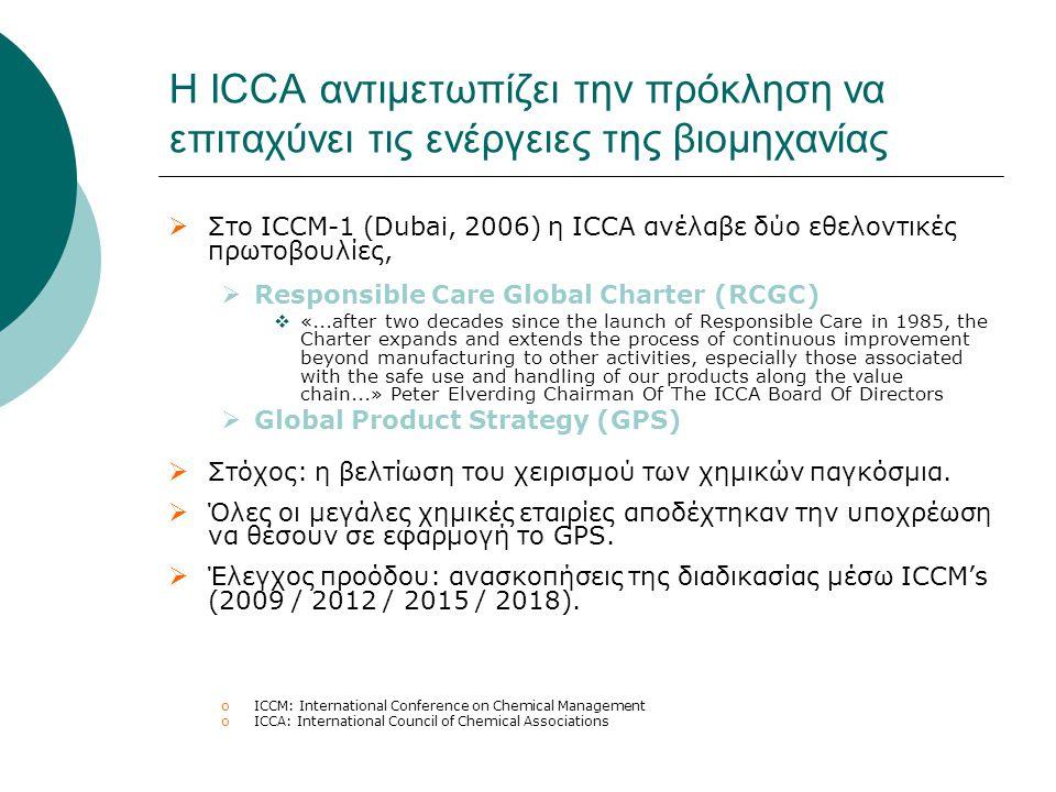  Στο ICCM-1 (Dubai, 2006) η ICCA ανέλαβε δύο εθελοντικές πρωτοβουλίες,  Responsible Care Global Charter (RCGC)  «...after two decades since the lau