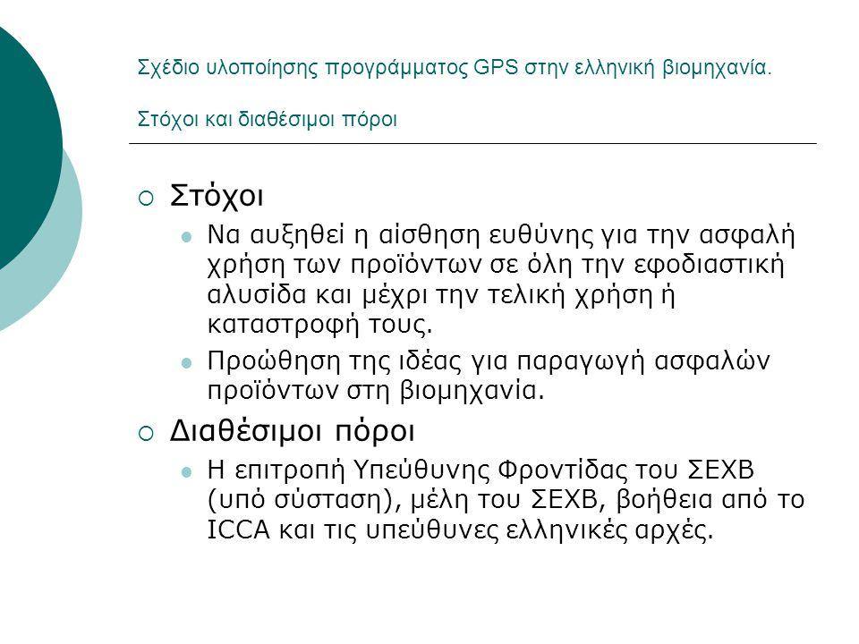 Σχέδιο υλοποίησης προγράμματος GPS στην ελληνική βιομηχανία. Στόχοι και διαθέσιμοι πόροι  Στόχοι  Να αυξηθεί η αίσθηση ευθύνης για την ασφαλή χρήση