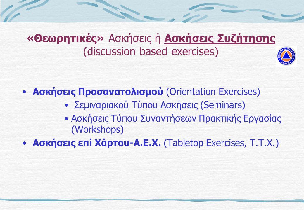 «Θεωρητικές» Ασκήσεις ή Ασκήσεις Συζήτησης (discussion based exercises) •Ασκήσεις Προσανατολισμού (Orientation Exercises) • Σεμιναριακού Τύπου Ασκήσεις (Seminars) •Ασκήσεις Τύπου Συναντήσεων Πρακτικής Εργασίας (Workshops) •Ασκήσεις επί Χάρτου-Α.Ε.Χ.
