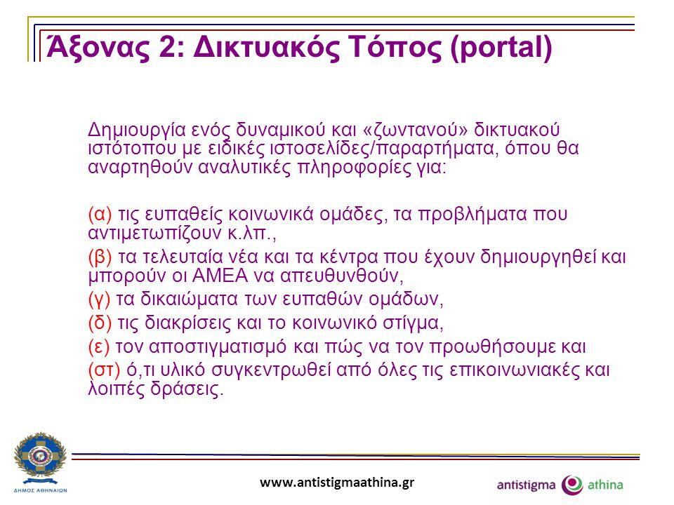 www.antistigmaathina.gr Άξονας 2: Δικτυακός Τόπος (portal) Δημιουργία ενός δυναμικού και «ζωντανού» δικτυακού ιστότοπου με ειδικές ιστοσελίδες/παραρτήματα, όπου θα αναρτηθούν αναλυτικές πληροφορίες για: (α) τις ευπαθείς κοινωνικά ομάδες, τα προβλήματα που αντιμετωπίζουν κ.λπ., (β) τα τελευταία νέα και τα κέντρα που έχουν δημιουργηθεί και μπορούν οι ΑΜΕΑ να απευθυνθούν, (γ) τα δικαιώματα των ευπαθών ομάδων, (δ) τις διακρίσεις και το κοινωνικό στίγμα, (ε) τον αποστιγματισμό και πώς να τον προωθήσουμε και (στ) ό,τι υλικό συγκεντρωθεί από όλες τις επικοινωνιακές και λοιπές δράσεις.