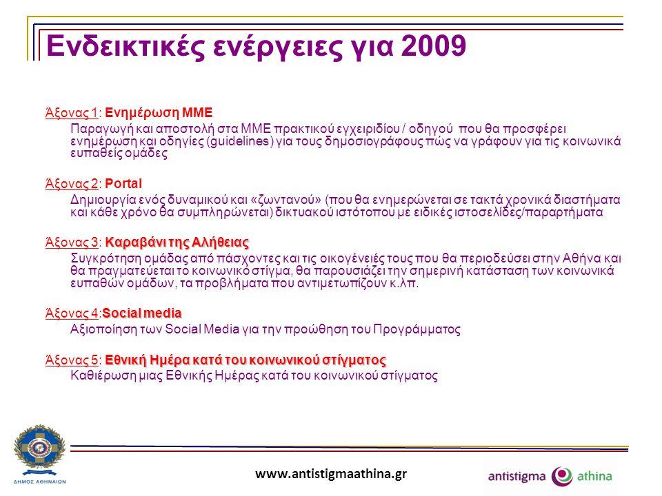 www.antistigmaathina.gr Ενδεικτικές ενέργειες για 2009 Άξονας 1: Ενημέρωση ΜΜΕ Παραγωγή και αποστολή στα ΜΜΕ πρακτικού εγχειριδίου / οδηγού που θα προσφέρει ενημέρωση και οδηγίες (guidelines) για τους δημοσιογράφους πώς να γράφουν για τις κοινωνικά ευπαθείς ομάδες Άξονας 2: Portal Δημιουργία ενός δυναμικού και «ζωντανού» (που θα ενημερώνεται σε τακτά χρονικά διαστήματα και κάθε χρόνο θα συμπληρώνεται) δικτυακού ιστότοπου με ειδικές ιστοσελίδες/παραρτήματα Καραβάνι της Αλήθειας Άξονας 3: Καραβάνι της Αλήθειας Συγκρότηση ομάδας από πάσχοντες και τις οικογένειές τους που θα περιοδεύσει στην Αθήνα και θα πραγματεύεται το κοινωνικό στίγμα, θα παρουσιάζει την σημερινή κατάσταση των κοινωνικά ευπαθών ομάδων, τα προβλήματα που αντιμετωπίζουν κ.λπ.