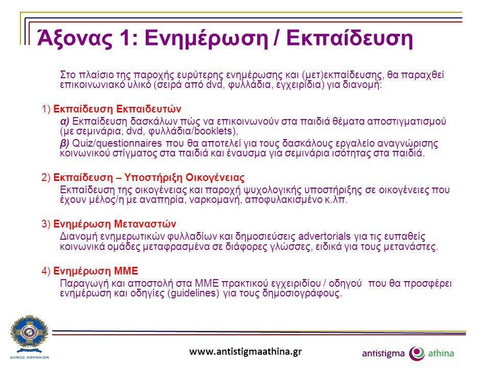 www.antistigmaathina.gr Άξονας 1: Ενημέρωση / Εκπαίδευση Στο πλαίσιο της παροχής ευρύτερης ενημέρωσης και (μετ)εκπαίδευσης, θα παραχθεί επικοινωνιακό υλικό (σειρά από dvd, φυλλάδια, εγχειρίδια) για διανομή: 1) Εκπαίδευση Εκπαιδευτών α) Εκπαίδευση δασκάλων πώς να επικοινωνούν στα παιδιά θέματα αποστιγματισμού (με σεμινάρια, dvd, φυλλάδια/booklets), β) Quiz/questionnaires που θα αποτελεί για τους δασκάλους εργαλείο αναγνώρισης κοινωνικού στίγματος στα παιδιά και έναυσμα για σεμινάρια ισότητας στα παιδιά.